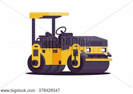 Modern Urban Asphalt Paver Car At Work In Web Site Style. Isolated Concept Heavy Vehicle At Building