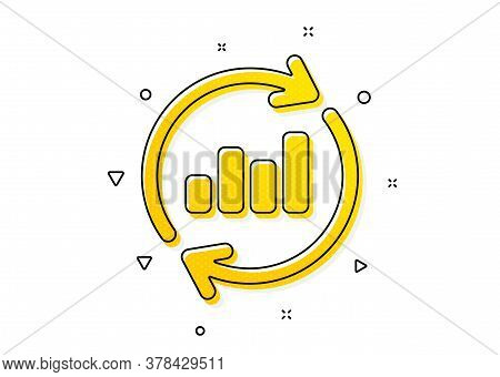 Update Report Graph Or Sales Growth Sign. Chart Icon. Analysis And Statistics Data Symbol. Yellow Ci