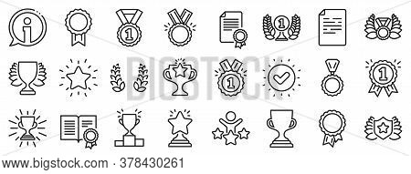 Set Of Winner Medal, Victory Cup And Laurel Wreath Award Icons. Award Line Icons. Reward, Certificat