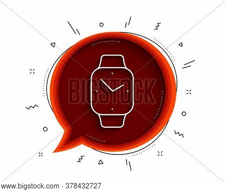 Digital Time Line Icon. Chat Bubble With Shadow. Clock Sign. Smartwatch Symbol. Thin Line Smartwatch