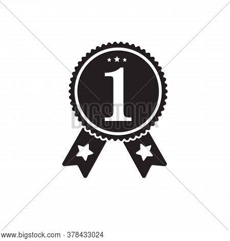 Number One Badge - Black Icon Flat Design. Black  Colors. Winner Graphic Sign. Number One Award Winn