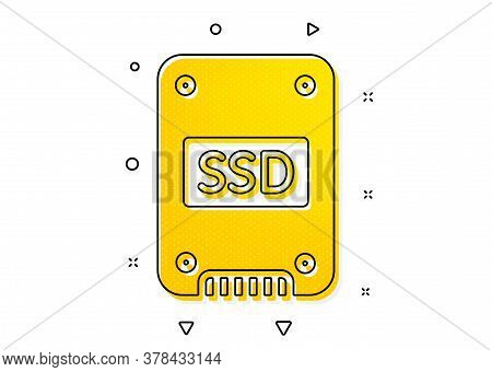Solid-state Drive Sign. Ssd Icon. Storage Disk Symbol. Yellow Circles Pattern. Classic Ssd Icon. Geo