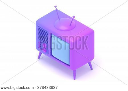 Tv Set In Isometric View 3d Rendered Illustration. Retro Purple Television With Blank Screen Cartoon