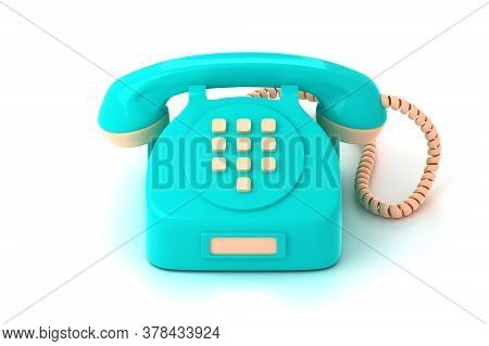 Front View Of Landline With Buttons 3d Render Illustration. Old Bright Green Telephone For Talk Cart