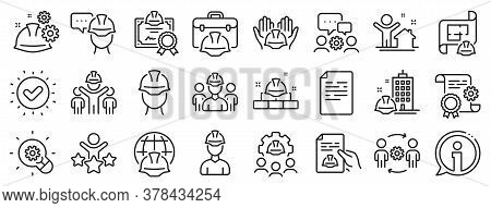 Teamwork, People And Technical Documentation. Engineering Line Icons. Blueprint With Gear, Engineer