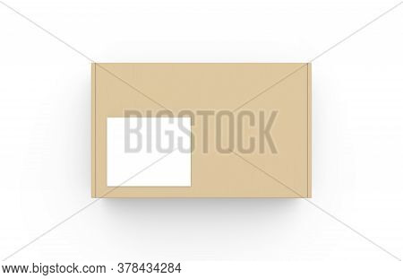 Craft Cardboard Box Container With White Square Label Template. Realistic Carton Texture Packaging M