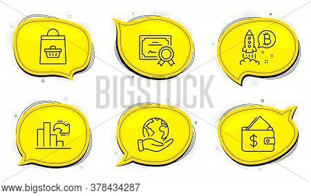 Decreasing Graph Sign. Diploma Certificate, Save Planet Chat Bubbles. Bitcoin Project, Wallet And On