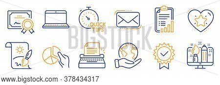 Set Of Education Icons, Such As Ranking Star, Pie Chart. Certificate, Save Planet. Creative Painting