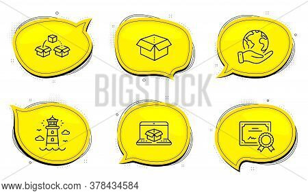 Open Box Sign. Diploma Certificate, Save Planet Chat Bubbles. Parcel Shipping, Lighthouse And Online