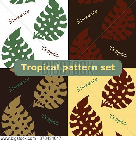 Exotic Tropical Vector Background With Hawaiian Plants Set. Seamless Tropical Pattern With Summer Le