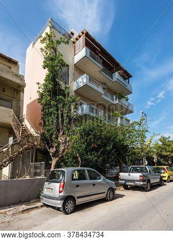 Heraklion, Greece - November 12, 2019: Street With Residential House In Heraklion, Crete Island, Gre