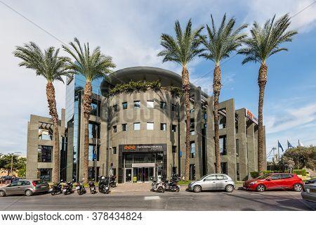 Heraklion, Greece - November 12, 2019: Building Of The Pancreta Cooperative Bank In Heraklion, Crete