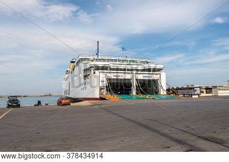 Heraklion, Greece - November 12, 2019: View Of Ferry Awaiting Loading At The Port On A Sunny Autumn