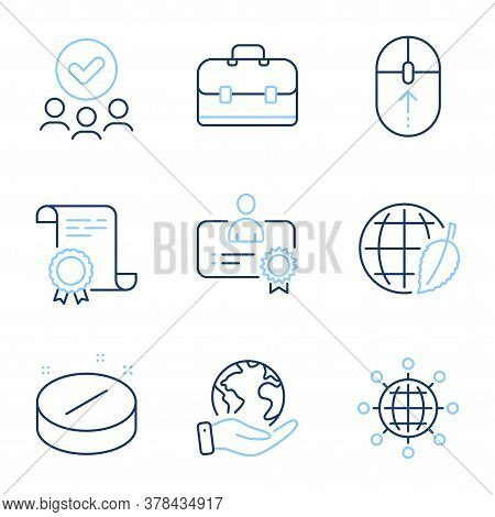 International Globe, Portfolio And Swipe Up Line Icons Set. Diploma Certificate, Save Planet, Group
