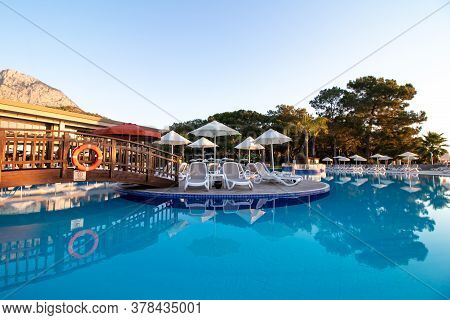 Kemer, Turkey, July 26, 2020: Swimming Pool At The Hotel Kimeros Park Holiday Village. A Seaside Res