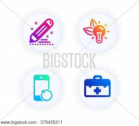 Recovery Phone, Brand Contract And Eco Energy Icons Simple Set. Button With Halftone Dots. First Aid