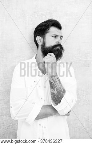Thinking About Style. Summer Fashion. Bearded Model Casual Outfit. Fashion Model. Mature Handsome Hi