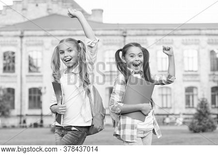 We Survived School. Happy Children Celebrate Outdoors. School Holidays. Summer Holidays Or Vacation.