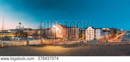 Helsinki, Finland. Panoramic View Of Helsinki Cathedral And Pohjoisranta Street In Evening Night Ill