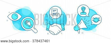 Parcel Invoice, Businesswoman Person And Clapping Hands Line Icons Set. Handshake Deal, Research And