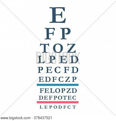 Eyes Test Chart With Latin Letters. Testing Board For Verification Of Patient. Vision Test Banner. V