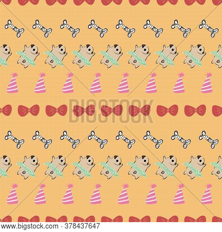 Pug Dog Bow Tie Tutu Party Hat Bone Seamless Pattern. Great For Birthday, Party, Gift Wrapping, Wall