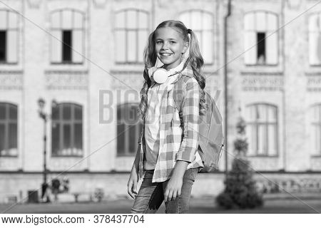 Sunny Morning At School Yard. Happy Carefree Child. School Classes. Student. Modern Education. Cheer
