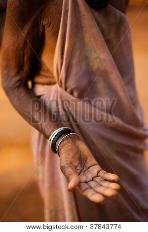 Old Senior Woman Hand Out Begging Money India