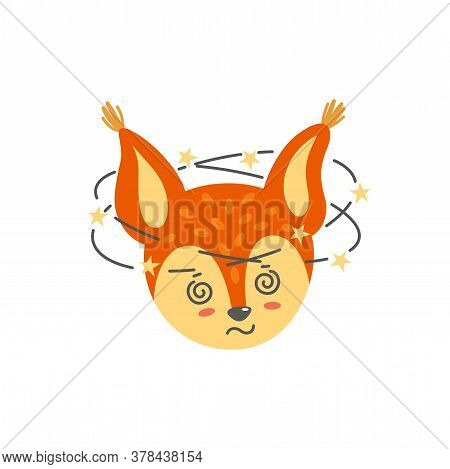 Dizzy Squirrel Face. Emotion Expression Like Emoji. Vector Illustration In Flat Style