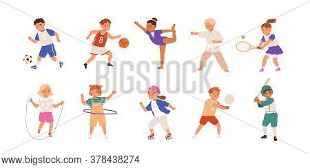Happy Children Playing Sport Game, Doing Physical Exercise. Training Set. Football, Baseball, Tennis
