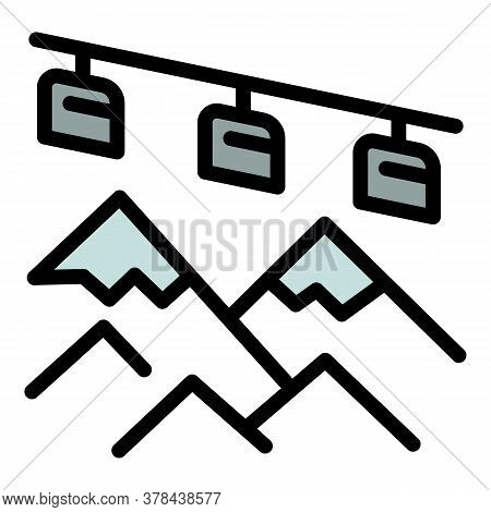 Mountains Ski Resort Icon. Outline Mountains Ski Resort Vector Icon For Web Design Isolated On White