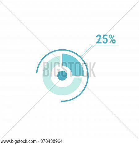 Twenty Five Percent Chart, 25 Percentage Diagram. Vector Circle Chart Design For Web Ui Design. Flat