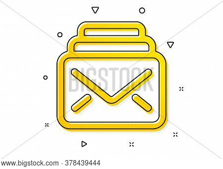 New Messages Correspondence Sign. Mail Icon. E-mail Symbol. Yellow Circles Pattern. Classic Mail Ico