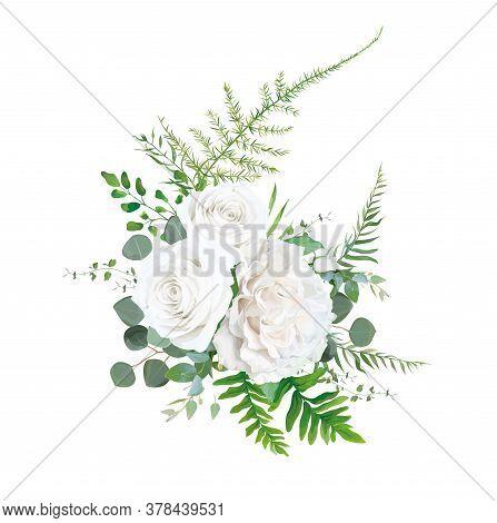 Vector Floral Bouquet Design: Garden Ivory White Powder Pale Peony Rose Flower, Eucalyptus Branch, G