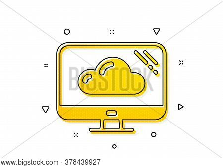 Cloud Storage Service Sign. Computer Icon. Monitor Symbol. Yellow Circles Pattern. Classic Cloud Sto