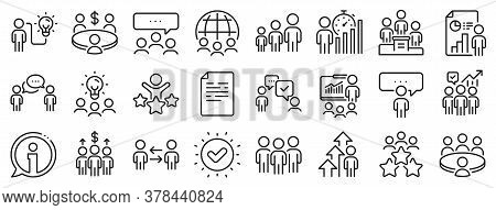 Conference, Seminar, Classroom. Meeting Line Icons. Team, Work And Business Idea Icons. Discussion,