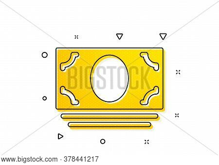 Banking Currency Sign. Cash Money Icon. Atm Service Symbol. Yellow Circles Pattern. Classic Cash Mon