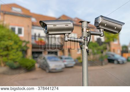 Security Cctv Video Camera Monitoring Home. Security Concept.