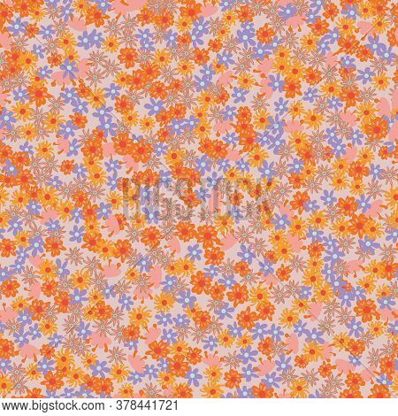 Pink, Orange And Violet Flowers Seamless Vector Pattern. Girly Summertime Surface Print Design For F