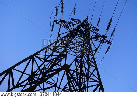 High Voltage Towers With Electrical Wires. Electricity Transmission Lines, Electric Power Station