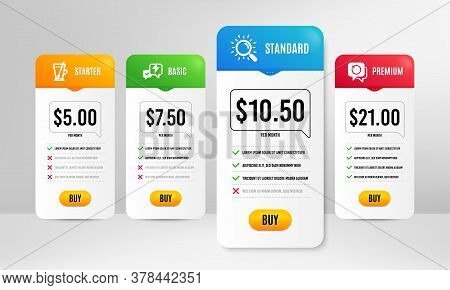 Recovery Data, Tea Mug And Lightning Bolt Icons Simple Set. Price Table Template. Search Sign. Backu