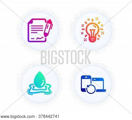 Water Splash, Idea And Signing Document Icons Simple Set. Button With Halftone Dots. Recovery Device