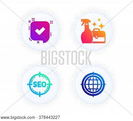 Confirmed, Seo And Cleanser Spray Icons Simple Set. Button With Halftone Dots. Seo Internet Sign. Ac