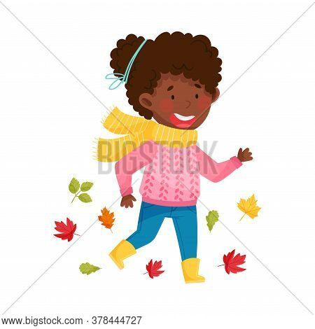 Cute African American Girl Character In Rubber Boots And Scarf Running Among Fallen Leaves Vector Il