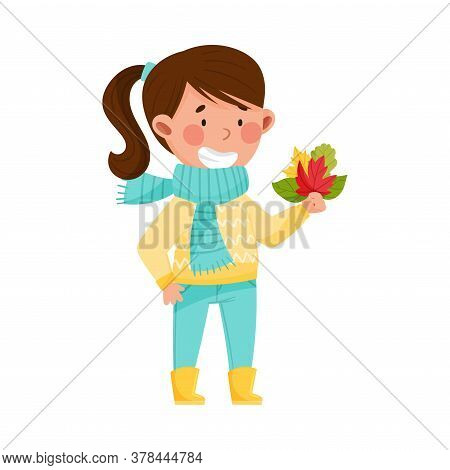 Funny Girl Character In Rubber Boots And Scarf Holding Autumn Leaves Bouquet Vector Illustration