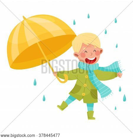 Joyful Boy Character In Rubber Boots And Raincoat Walking With Umbrella Vector Illustration