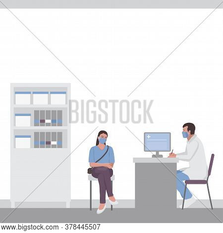 A Woman At A Doctor Appointment In A Doctor Office