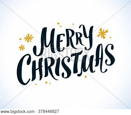 Vector Merry Christmas Congratulation, Hand Written Text, Lettering Design. With Snowflakes Isolated