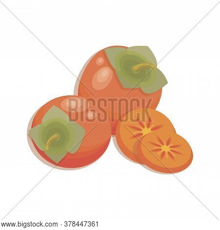 Juicy Persimmon. Vector Fruit, Slices And Whole Of Juicy Persimmon. Fresh Bright Persimmon