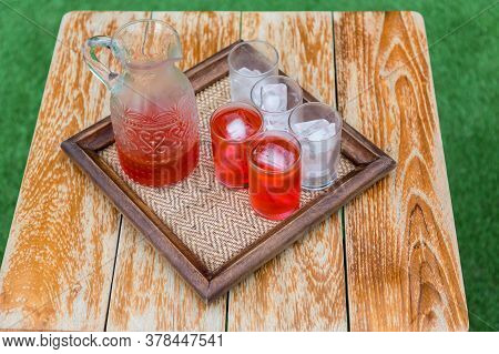 Welcome Drink, Roselle Juice In Hotel. The Detail Of A Wedding Welcome Drink, The Shots With Alcohol